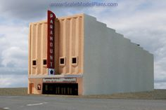 Paramount Theatre done in balsa and sprayed with texture finish.  (N scale Model Railroad)