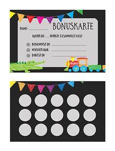 Bonuskarte Kinder 5 Stück, Belohnungskarte, Stempelkarte Kinder