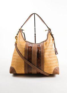 "Brown Straw and Crocodile Leather ""Secret"" Hobo Bag"