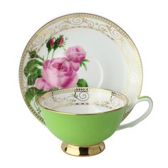 Lux Gold Floral Bone China Cup Saucer - Green