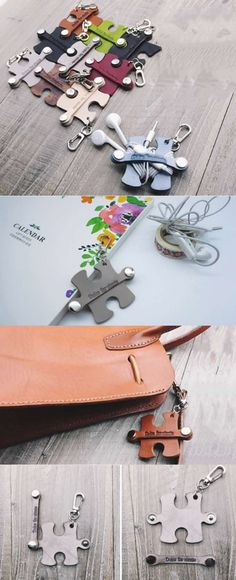 Handmade Leather Puzzle  Headphone Earphone Wrap Winder Cord Organizer with keychar