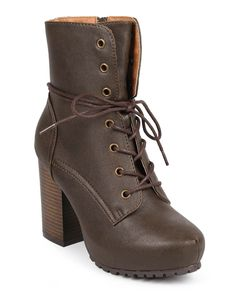New-Women-Qupid-Sotto-01-Leatherette-Almond-Toe-Block-Heel-Lace-Up-Military-Boot
