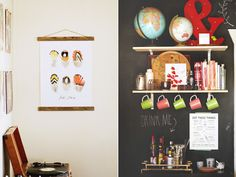 shelves with cup hooks, bar underneath, chalkboard walls