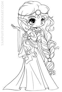 Scottish Elf Princess Lineart by *YamPuff on deviantART