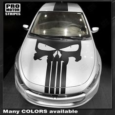 Dodge Dart Punisher Style Skull Hood&Top Stripes 2018 2017 2016 2015 2014 2013 Dodge Dart Vinyl Stripes Decals High quality factory style and unique Auto Graphics 2013 Dodge Dart, Truck Paint, Punisher, Ms Marvel, Captain Marvel, Marvel Comics, Trunks, Decals, Skull
