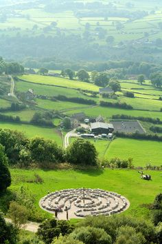 A labyrinth and the Derwent Valley seen from the memorial to the Sherwood Foresters at Crich Stand, Derbyshire, UK.