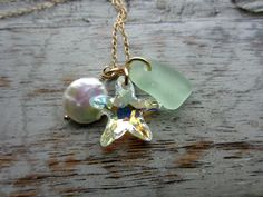Swarovski Crystal AB Starfish Necklace Creamy by BeachCoveJewelry, 14k gold filled Coin Pearl, Mint green sea glass