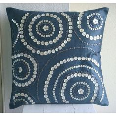 Handmade Blue Throw Pillows Cover, Spiral Mother Of Pearls Pillowcases, Throw Pillow Covers, Square Silk Pillowcase, Geometric Contemporary Cushion Covers - Midnight Moon Blue Throw Pillows, Diy Pillows, Throw Pillow Cases, Toss Pillows, Pillow Covers, Accent Pillows, Cushion Covers, Couch Pillows, Sewing Pillows Decorative