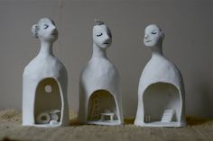 "Porcelain bells 10 ""Three Inner spaces"" Group of 3 small sculptures Brisbane Queensland, Queensland Australia, Ceramic Figures, Ceramic Artists, Ceramics Projects, Clay Projects, Textile Sculpture, Sculpture Art, Space Group"