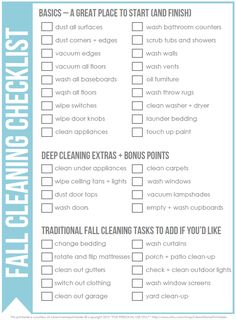 Get a jumpstart on your spring cleaning by doing a little winter cleaning - FREE printable checklist via Clean Mama Fall Cleaning Checklist, Deep Cleaning Tips, House Cleaning Tips, Diy Cleaning Products, Cleaning Solutions, Spring Cleaning, Cleaning Hacks, Cleaning Schedules, Cleaning Lists