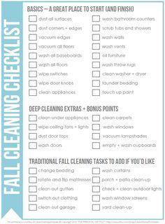 Free Fall Cleaning Checklist via Clean Mama