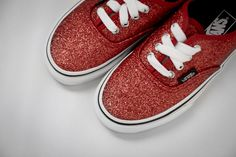 Glitter Red Vans Authentics for Girls