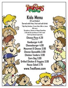 Kids Menu Kids Menu, Cream Soda, Root Beer, Smoothies, Mango, Meals, Fruit, Kids Lunch Menu, Beer