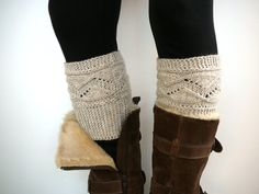 Oatmeal knit boot socks boot cuffs boot toppers leg by craftasta