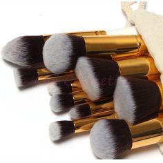 Barato 10 Pcs macio cabelo sintético compõem Kit ferramentas cosméticos beleza pincel de maquiagem preta conjuntos com presente desenhe saco de corda, Compro Qualidade Pincéis de maquiagen & acessórios diretamente de fornecedores da China:                                                    Deixe -nos a mensagem as cores que você qu