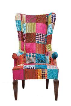 Patchwork Wing Chair Velvet - Kare Design