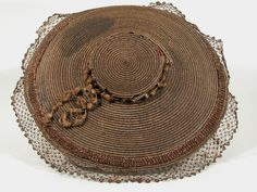 Bergère , split straw dyed hat 1750-70, believed to be of Spanish origin