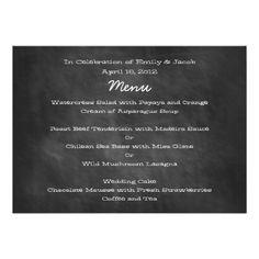 Shop Chalkboard Wedding Menu Cards created by TwoBecomeOne. Chalkboard Wedding Invitations, Wedding Invitation Sets, Custom Wedding Invitations, Wedding Stationery, Wedding Wishes, Wedding Thank You Cards, Wedding Menu Template, Menu Templates