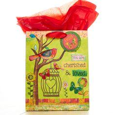 Medium Gift Bag: Bird Cherished & Loved | Christian Art Gifts
