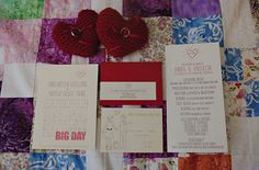 What if you asked guests to rsvp with a piece of fabric which you sew into a quilt! Maybe with a sewed on name tag? Heart Wedding Invitations, Wedding Invitation Inspiration, Save The Date Invitations, Wedding Stationary, Ring Pillows, Wedding Things, Wedding Stuff, Wedding Ideas, Handmade Wedding
