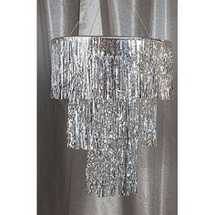 The Silver Three Tier Chandelier features thousands of shimmering metallic mylar strands. Each of the silver tier chandeliers hangs 3 feet long.