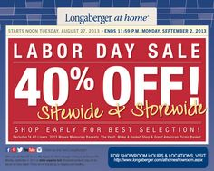 save on shipping & go to one of our Longaberger at home store.  Remember to give them your consultant name, if you don't have one give cashier my name.  www.longaberger.com/eleanorputman
