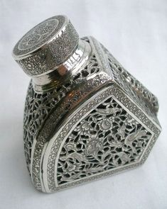 Outstanding Antique Persian/Islamic Solid Silver Pierced & Engraved Inkwell