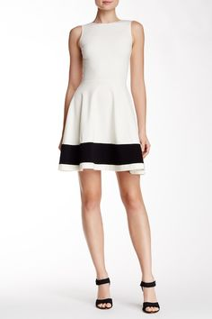 Sleeveless Colorblock Hem Fit & Flare Dress