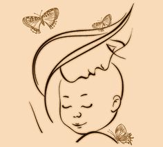 Adorable mom and baby tattoo design