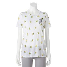 """Juniors' """"Guac And Roll"""" Avocado Graphic Tee, White"""