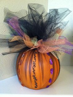 halloween pumpkin decoration halloween centerpiece halloween front door decor tulle wrapped pumpkin on - Halloween Centerpieces