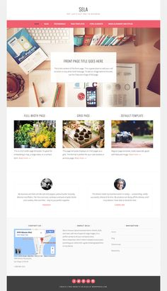 Sela - Wordpress template for business with static Front Page Page Layout Design, Wordpress Theme Design, Wordpress Template, Site Wordpress, Website Themes, Magazine Template, Web Design Inspiration, Beauty Supply, Templates