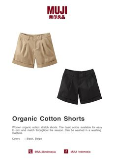 Women organic cotton stretch shorts. The basic colors available for easy to mix-and-match throughout the season.