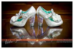 Wow! Charli's shoes for the day..  Jimmy Choo - well sort of! Special bridal shoes. Basingstoke wedding photographer. Hampshire.