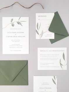 amy zhang imaginative on weddinglovely olive branch wedding invitations semi-custom marriage ceremony stationery italy wedding ideas Minimalist Wedding Invitations, Laser Cut Wedding Invitations, Wedding Stationary, Wedding Invitation Cards, Wedding Invitation Design Ideas, Minimalist Invitation, Olive Branch Wedding, Olive Wedding, Wedding Stationery Inspiration