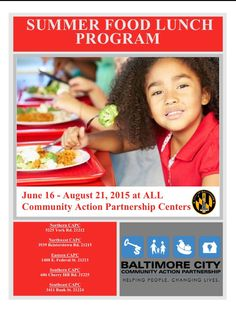 Please share. Free Summer lunch program for Baltimore City Families