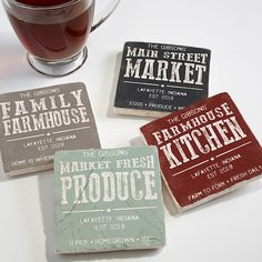 Buy personalized coasters made from tumbled stone. Choose from 4 farmhouse style designs & add any text. Photo Coasters, Diy Coasters, Stone Coasters, Custom Coasters, Country Bedding Sets, Farmhouse Bedding Sets, Farmhouse Coasters, Luxury Duvet Covers, Luxury Bedding