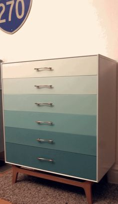 ReLoved and UpCycled - Stunning Midcentury Modern Ombre Dresser  (i want to do this!)