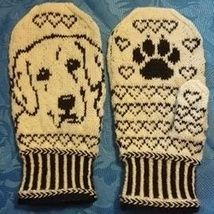 This pattern is avaiable in English and Norwegian. free fair isles ravelry Golden Retriever Mittens pattern by Connie H Design Crochet Mittens Pattern, Baby Boy Knitting Patterns, Knitting Paterns, Crochet Quilt, Knitting Charts, Knitted Gloves, Knitting Socks, Knitting Stitches, Jars