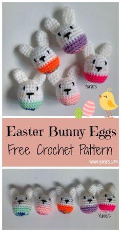 A free crochet amigurumi pattern for Beginners. Easter Bunny eggs make great gift for easter. #CrochetEaster