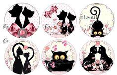 Planche d'images pour cabochons 13, pour toutes vos créations collection les chats roses à pois à imprimer