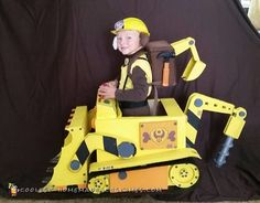 I made this PAW Patrol costume for my four year old son. Its his favorite TV show and Rubble is his favorite charter on the show. Rubble has a const. Costume Halloween, Paw Patrol Halloween Costume, Halloween Diy, Car Costume, Family Halloween, Halloween 2017, Happy Halloween, Homemade Costumes, Diy Costumes