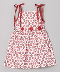 Red Blooms Organic Shoulder-Tie Dress - Infant, Toddler Girls