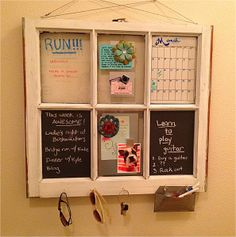 Window pane turned into organization board. Wish we hadn't tossed our old garage windows.
