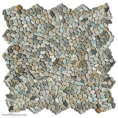 Get this blue natural stone tile from Glass Tile Oasis today! This blue pebble tile features a blend of colors to add a natural, organic look to your space. Pebble Mosaic Tile, Pebble Floor, Pebble Stone, Stone Tiles, Natural Stone Wall, Natural Stone Flooring, Natural Stones, Decorative Pebbles, Decorative Tile