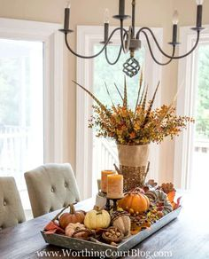 Table Centerpieces For Home, Centerpiece Decorations, Galvanized Tray Centerpieces, Dining Room Centerpiece, Kitchen Decorations, Fall Home Decor, Autumn Home, Table Farmhouse, Farmhouse Decor