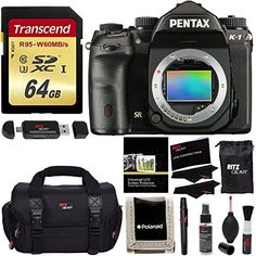 Pentax K-1 Full Frame DSLR Camera Body Only, Transcend 64 GB UHS-3 Flash Memory Card, Ritz Gear SLR Gadget Bag, Ritz Gear Cleaning Kit, Ritz Gear Reader, Polaroid Screen Protector