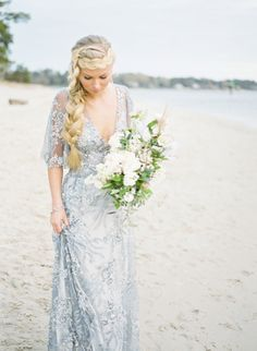 We were immediately smitten with this dreamy Virginia coast wedding inspiration thanks to it's oceanic, yet soft, color palette. Every detail is touched with deep blue, sandy nude, and steel grey hues