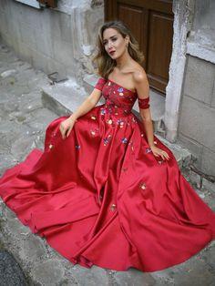 A-line Long Prom Dress Burgundy Off-the-shoulder Satin Embroidery Chic Evening  Dress AM694 e966184c35e8