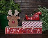 Personalized Christmas Decor Red & White Chevron Holiday Decoration Holiday Stacking Blocks Christmas Mantle Decor Housewarming Gift Hostess